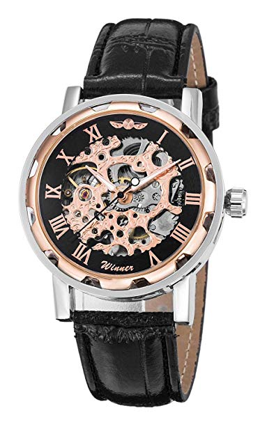 FULL METAL Classic Steampunk Mechanical Wristwatch See Through Skeleton Automatic Unisex Watch