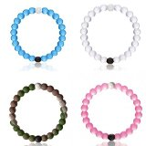 Father.son Silicone Bracelet - Size Small Medium Large and Xlarge Bangles for Ladies and Women (Medium, White+Amber+Blue+Pink)