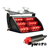DT MOTO™ Red 18x LED Firefighter EMT Personal Emergency Vehicle Strobe Warning Dash Light - 1 unit