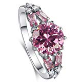 Psiroy 925 Sterling Silver Created Pink Topaz Filled Split Shank Band Cocktail Ring